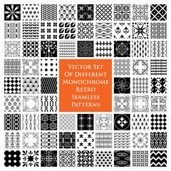 Monochrome retro seamless patterns