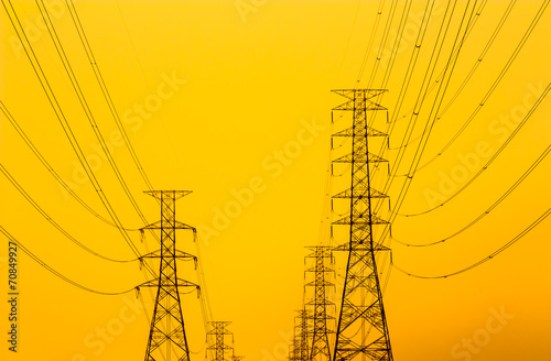 High voltage post and sky in twilight time - 70849927