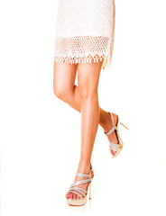 Beautiful woman legs with shoes.Summer fashion styles.