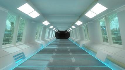 Futuristic corridor interior and city background