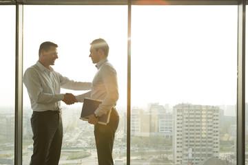 Zwei Geschäftsleute im sonnigen Büro, Händeschütteln