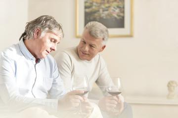 Zwei reife Männer mit Rotweingläsern