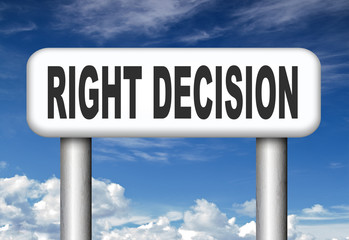 right decision or choice