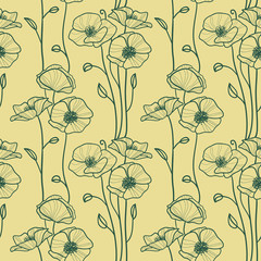 Seamless pattern with decorative poppy flowers