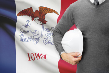 Engineer with flag on background series - Iowa