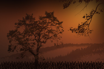 Brown background with silhouette of a tree