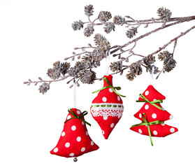 Christmas hand made decoration on white background