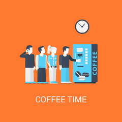 Business coffee-break concept flat icon turn line office people