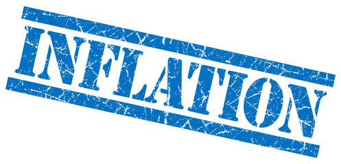 inflation blue grungy stamp on white background