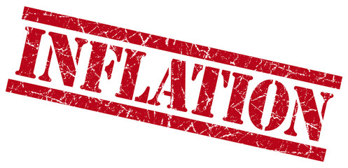 inflation red grungy stamp on white background
