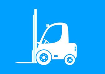 White forklift truck on blue background