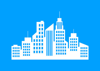 White city icon on blue background
