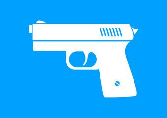 White gun icon on blue background
