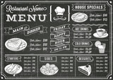 Chalkboard Restaurant Menu Template - 70852560