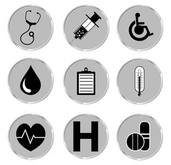 Medical button set. Vector illustrator EPS.