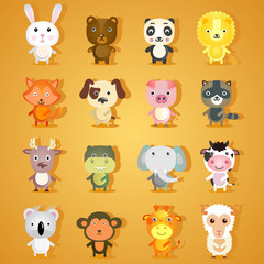 Set of cartoon animal characters