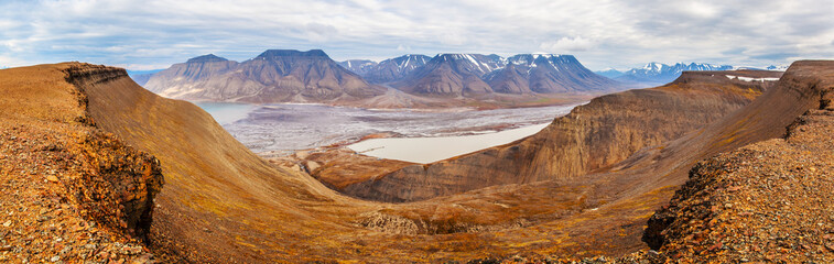 Horizontal panorama view near Longyearbyen, Spitsbergen, Norway