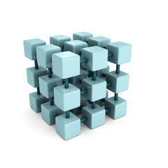 abstract block cube structure on white background