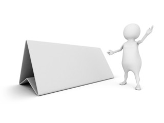 3d man with blank desk white board for text information