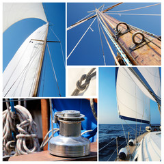 Collage of sailing boat stuff - winch, ropes, yacht in the sea,k