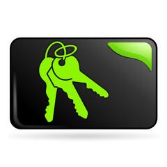 clefs sur bouton web rectangle vert