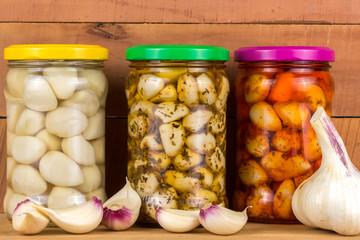 pickled garlic in the pot