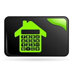 crédit immobilier calculatrice sur bouton web rectangle vert