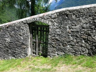 Stone Wall Wooden Gate