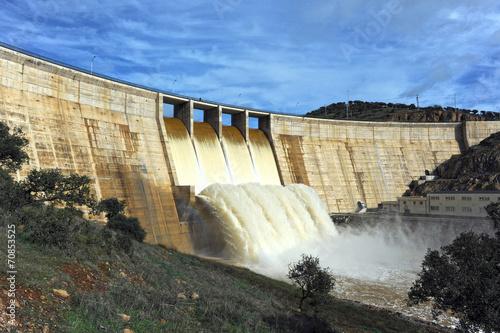 Foto op Aluminium Dam Pantano del Montoro, provincia de Ciudad Real, España