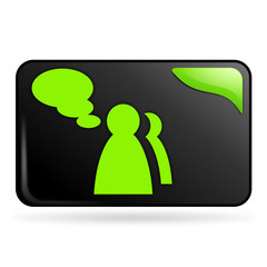 témoignage sur bouton web rectangle vert