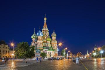 Russland, Zentralrussland, Moskau, Roter Platz, Basilius-Kathedrale am Abend