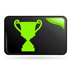 trophée sur bouton web rectangle vert