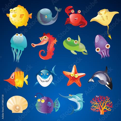 Vector Set of Sea Creatures - 70853738