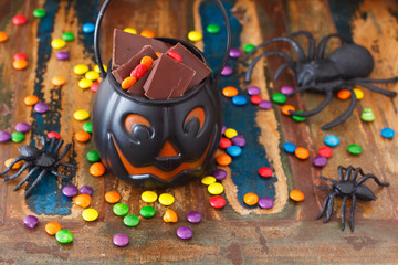 Sweets chocolate candy for Halloween,  spider