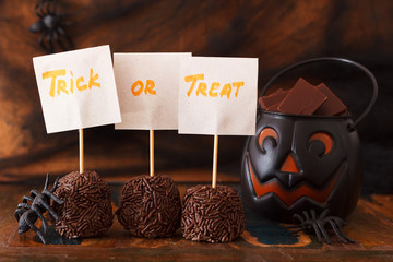 Sweets trick or treat for Halloween spiders, spider we