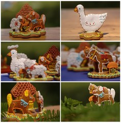 Collage with gingerbread - horse, duck and sheep