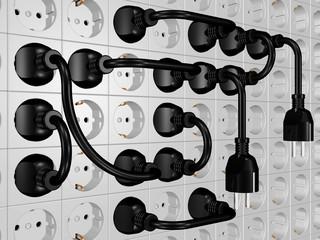 viele Steckdosen und Kabel - großes Problem