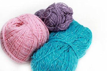 Three skeins on white background