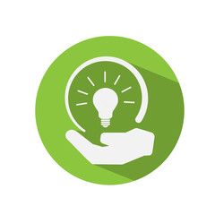 Light Bulb In Human Hand Green Eco Concept Vector