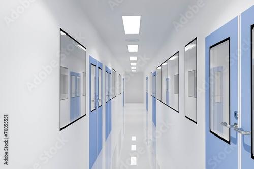 Leinwanddruck Bild Corridors For Clean room pharmaceutical plant