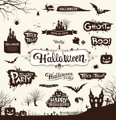 Happy Halloween day silhouette collections design