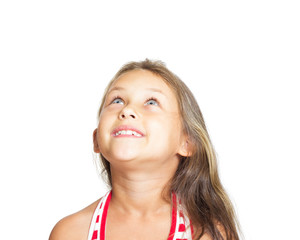 kid looking up on white background