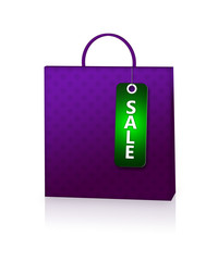 violet shopping bag and discount card isolated over white