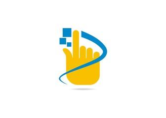 touch digital finger logo Vector