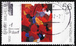 Postage stamp Germany 2002 Yellow Feather in Red, Painting