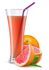 Glass of grapefruit juice with fruit isolated on white.