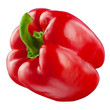 Sweet red pepper. Fresh paprika isolated on white. With clipping