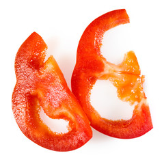 Red pepper. Fresh paprika slices isolated on white