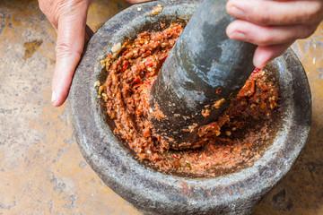 Pounding Thai chili sauce