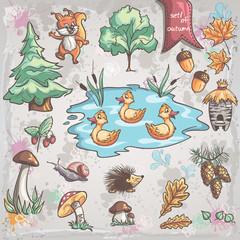 trees, animals, fungi for children. Set 1